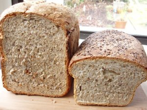 wholewheat (bread machine) vs. multiseed brown bread (traditional)