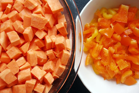 chopped sweet potato, carrot and peppers