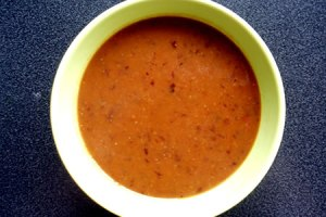 kabocha, tomato & black bean soup