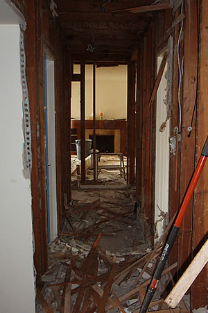 hallway towards living room, end of day 2