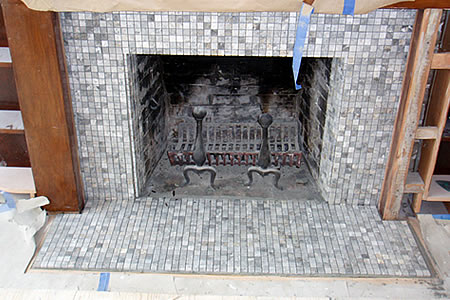 fireplace tile - panther gold mosaic